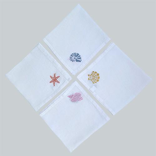 Seashells 4up white napkins